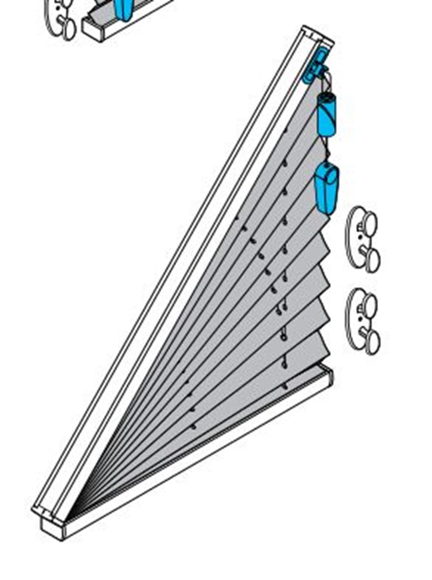 AO70 Plissee mit Schnurzug für Dreieckfenster