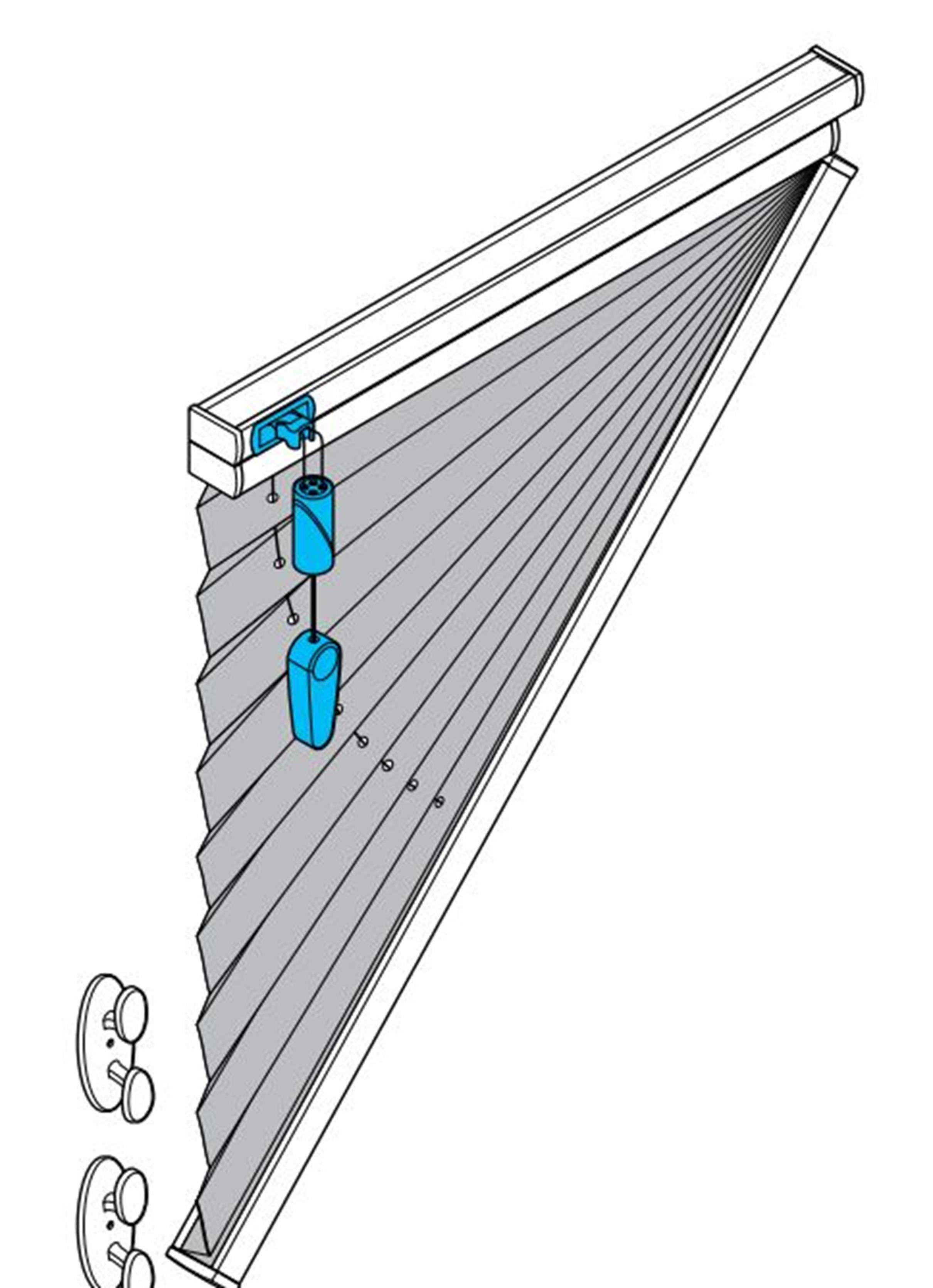 BO75 Plissee mit Schnurzug für Dreieckfenster
