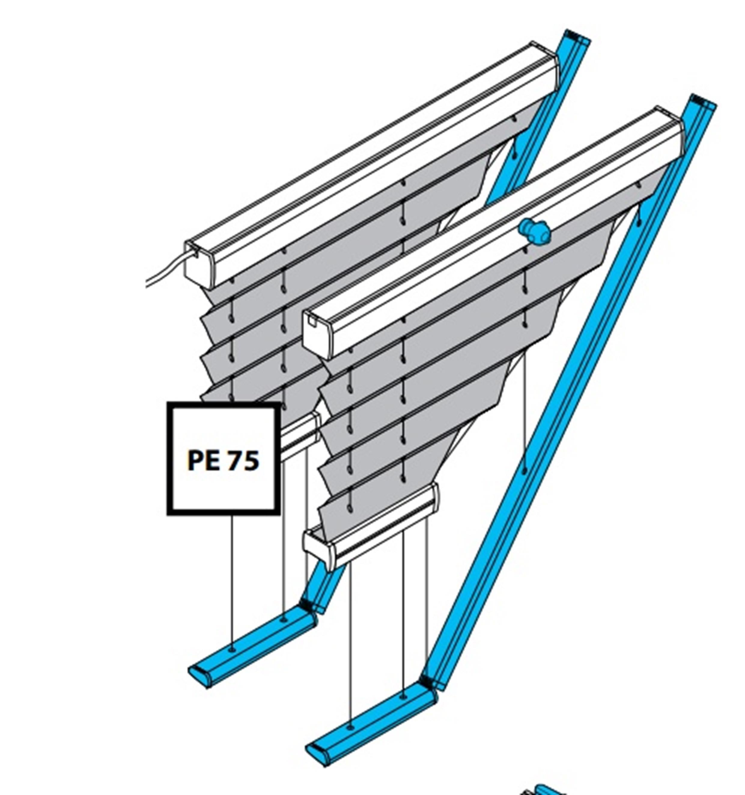 Plissee PE75 und PK75 mit Motor oder Kurbelantrieb
