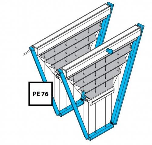 Plissee PE76 und PK76 mit Motor oder Kurbelantrieb